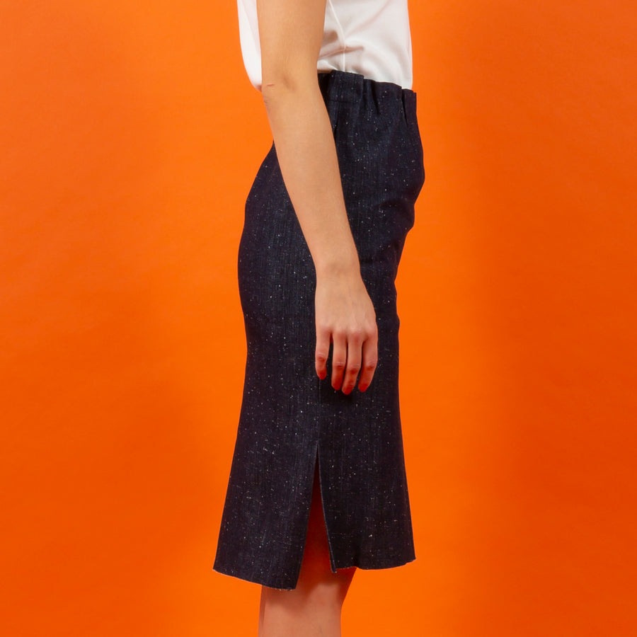 Japanese RAW Denim Slimfit Skirt Blue SIGHTLINE
