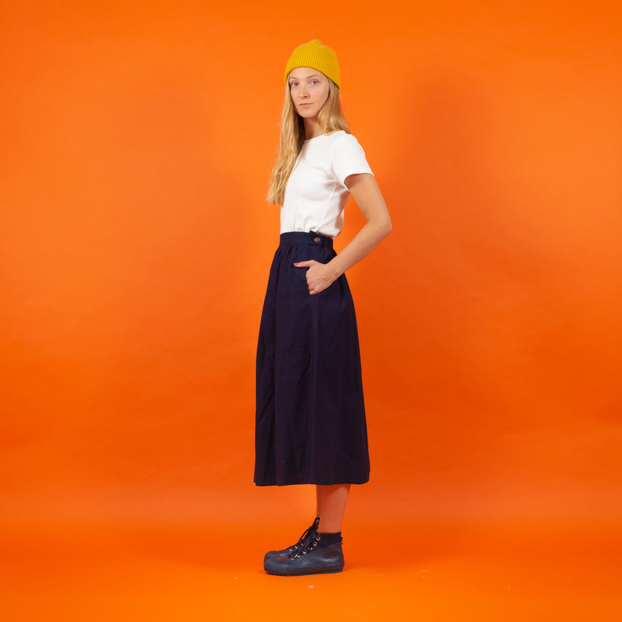 Japanese RAW Cotton Skirt Dark Blue SIGHTLINE