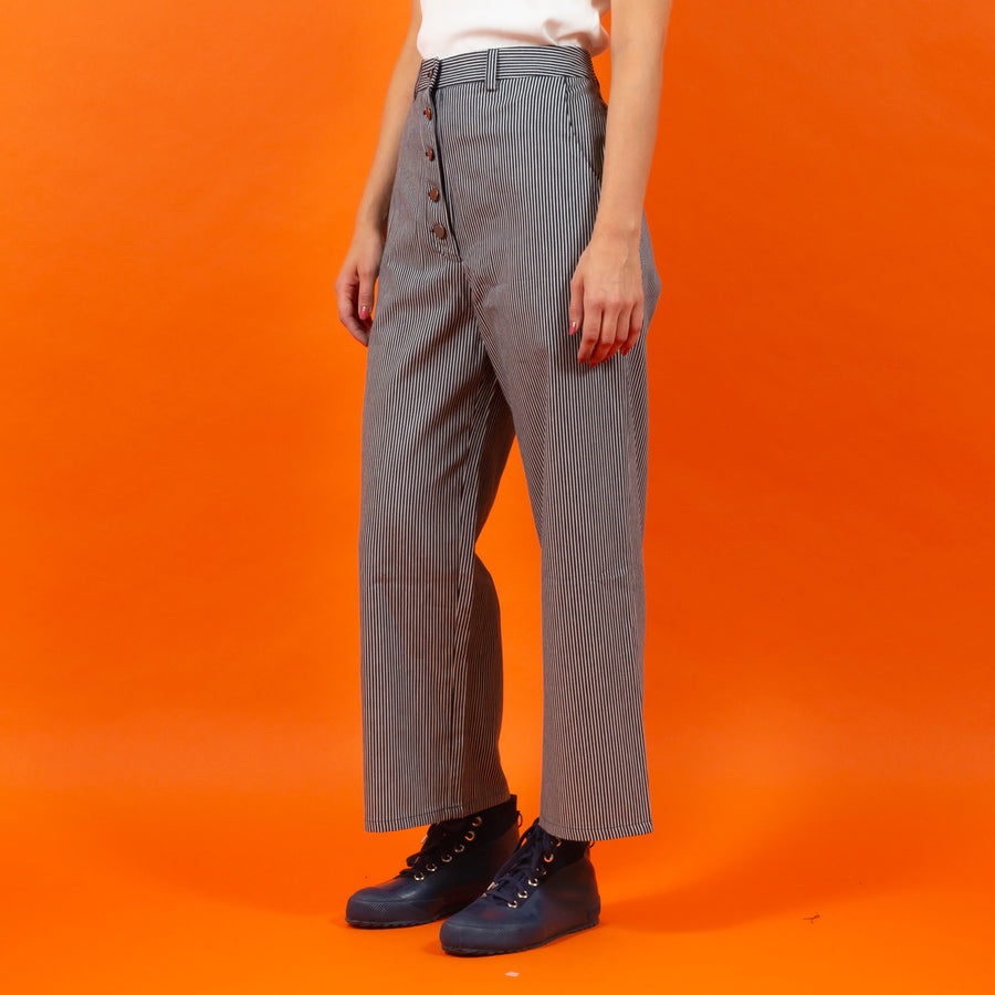 Japanese RAW Cotton Button Pants Blue Striped SIGHTLINE