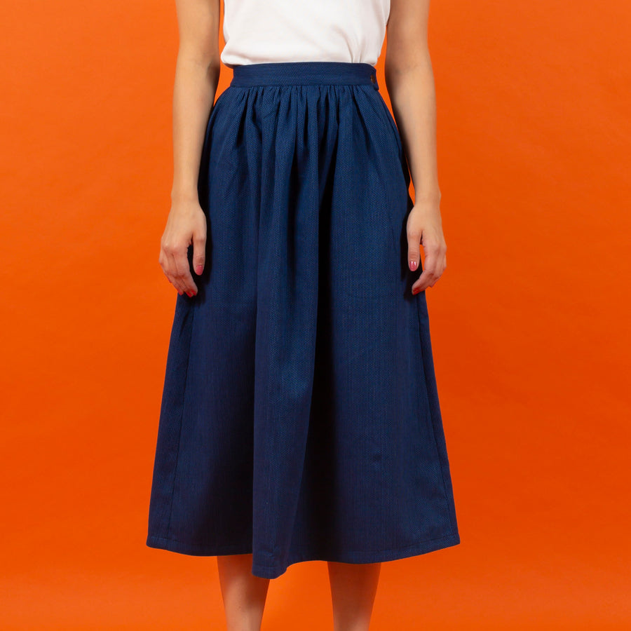 Japanese RAW Cotton Skirt Blue Dot SIGHTLINE