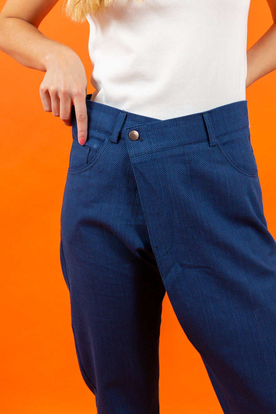 Japanese RAW Cotton Overlap Pants Blue Dot SIGHTLINE
