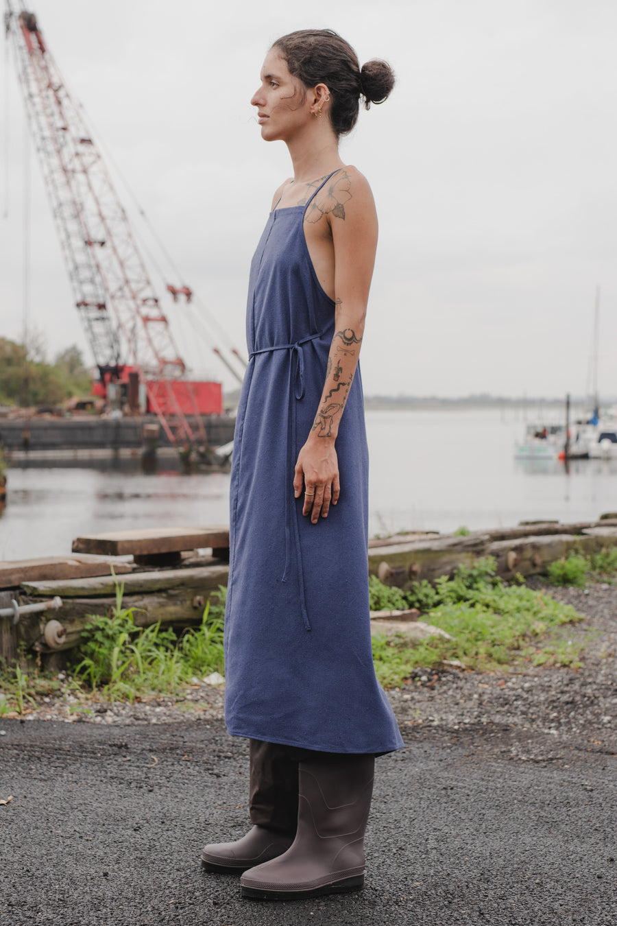 Yumi Apron Dress bari blue BASERANGE