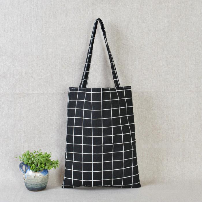 Tote Bag black grid