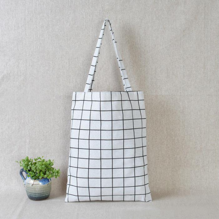 Tote Bag white grid