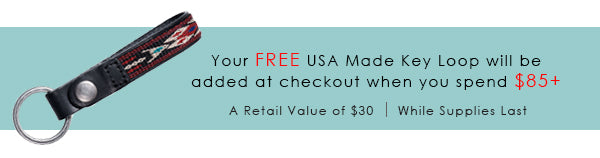 Your FREE USA made key loop with be added at checkout with purchases of $85 or more. Retail value of $30 while supplies last.