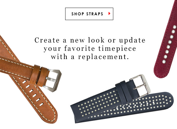 Create a new look or update you favorite timepiece with a replacement watch strap. Shop Straps.