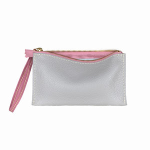 Bryant Pursette by TOKYObay. USA Made with genuine grey leather and pink Japanese woven Obi wristlet. A zip pursette for all the essentials.
