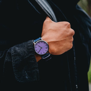Kenwood Purple/Navy Leather Wrist Watch