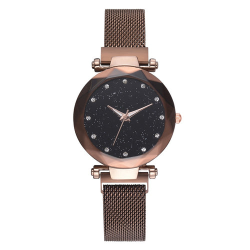 Best Selling Women Magnet Mesh Buckle Starry Sky, Casual Luxury Watch Women Geometric Surface Quartz Watches Female Clock