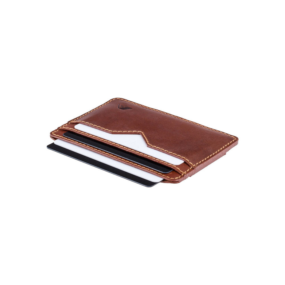 A-SLIM sunnari card and cash strap wallet angled front shot in Havanna Tan & Rainforest Green filled with cards