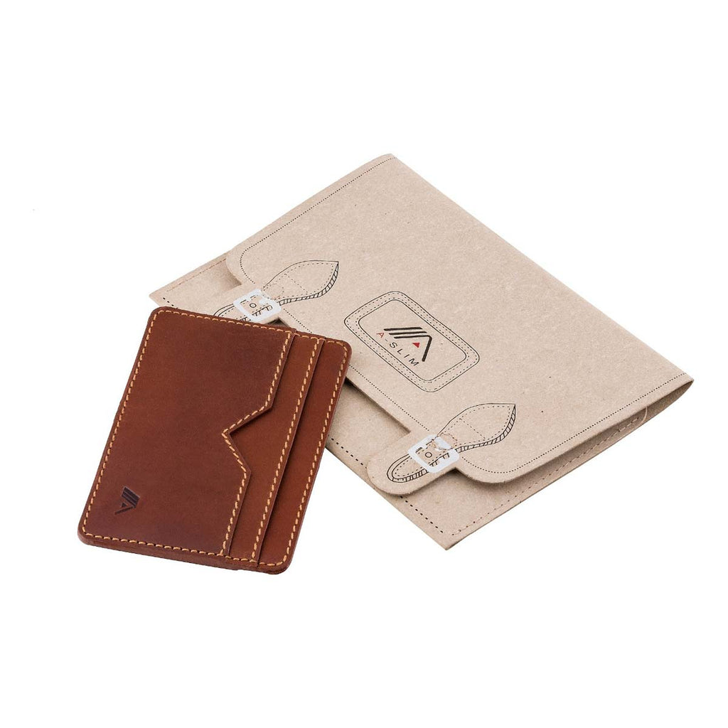 A-SLIM Sunnari card and cash strap wallet in Havanna Tan & Rainforest Green with the signature a-slim packaging