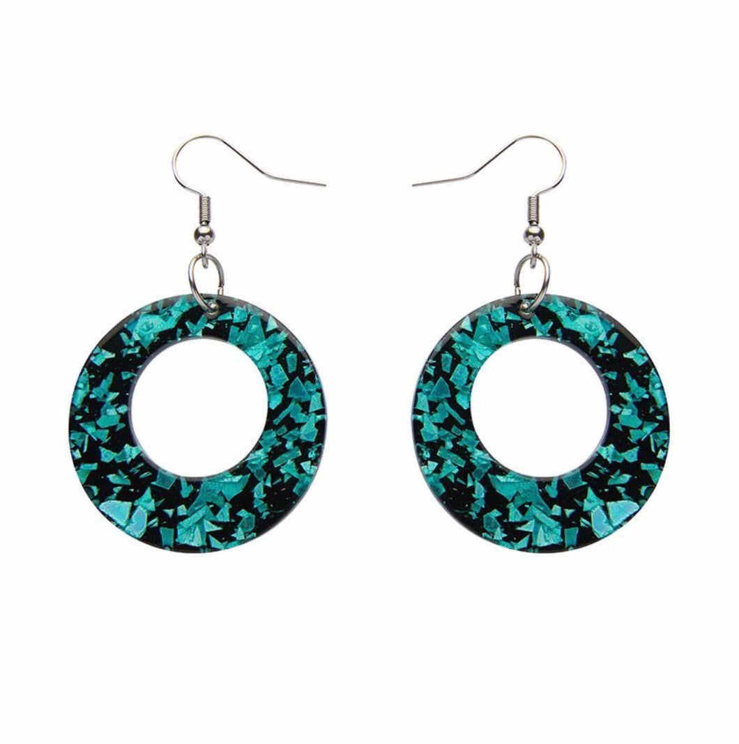 Circle chunky glitter resin drop earings - mint - Erstwilder - Drop essentials collection