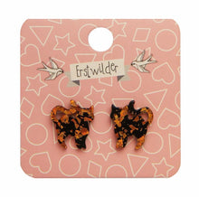 Load image into Gallery viewer, Cat glitter resin stud earings - orange and black - Erstwilder Halloween essentials collection