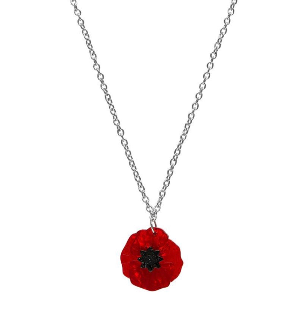 Poppy field mini pendant necklace - Erstwilder Rememberance collection