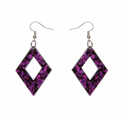 Diamond chunky glitter resin drop earings - fuchsia - Erstwilder - Drop essentials collection