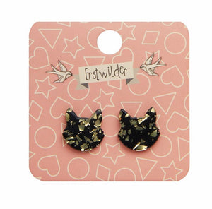 Cat head glitter resin stud earings - black and gold - Erstwilder - Halloween essentials collection