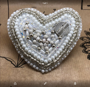 Beaded heart brooch in whites and silvers - Jane Clark