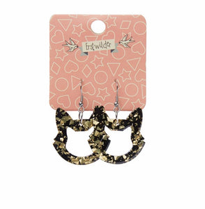 Cat head bubble resin drop black and gold earings - Erstwilder - Halloween essentials collection
