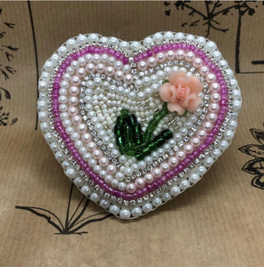 Hand crafted beaded heart brooch - Jane Clark