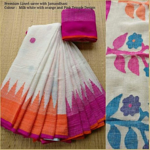 Linen Designer Digital Print Saree MF11221
