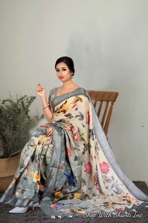 Pure Linen Grey Color Flower Designer Digital Print Saree MF11043