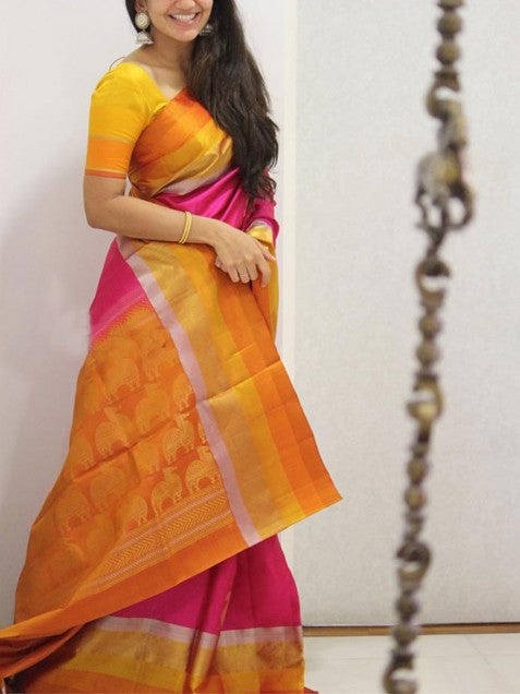 Yellow Pink Colour Soft Silk Designer Saree MF1393