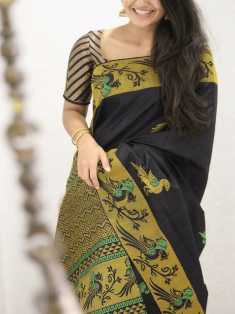 Black Soft Silk Designer Saree MF1842