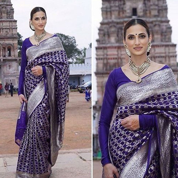 Soft Silk Black Royal Blue Silver design Color Designer Saree MF2286