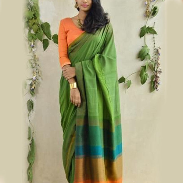 Soft Silk Shining Parrot Multi color design Color Designer Saree MF2295