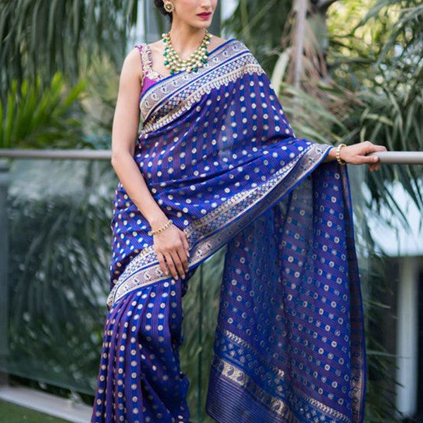 Soft Silk Royal Blue color design Color Designer Saree MF2306