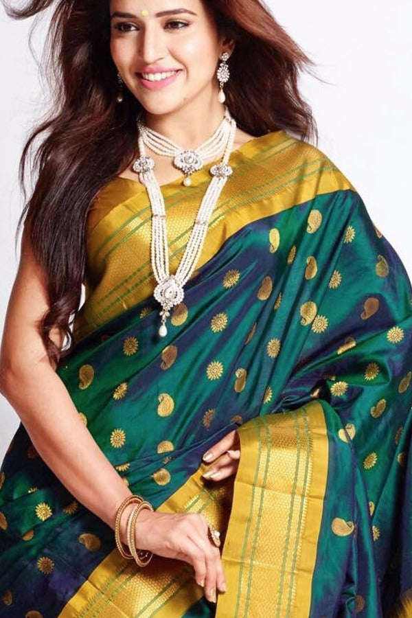 Green Golden Colour Soft Silk Designer Saree MF30025