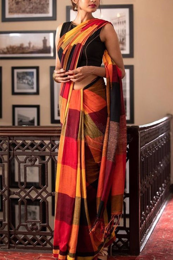 Cheked Colour Soft Silk Designer Saree MF30074