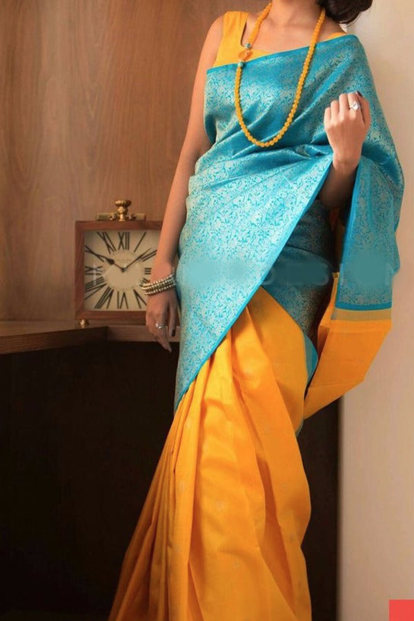 Yellow Colour Soft Silk Designer Saree MF30082