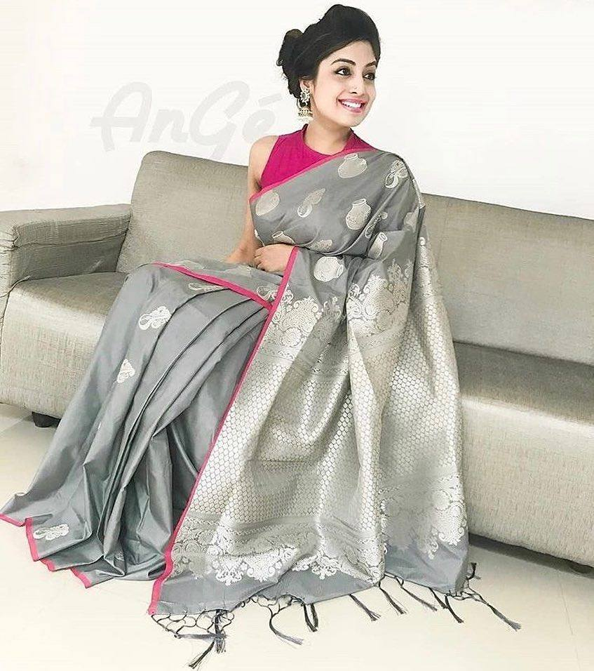 Silver Colour Soft Silk Designer Saree MF30203