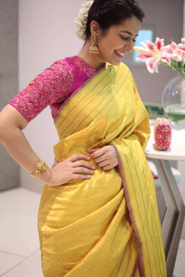 Yellow Colour Soft Silk Designer Saree MF30036
