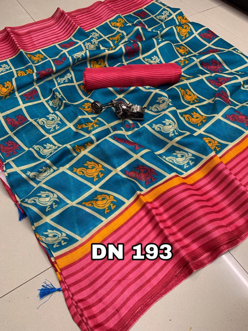 Linen Designer Digital Print Saree 50592