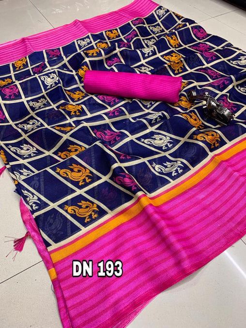 Linen Designer Digital Print Saree 50593
