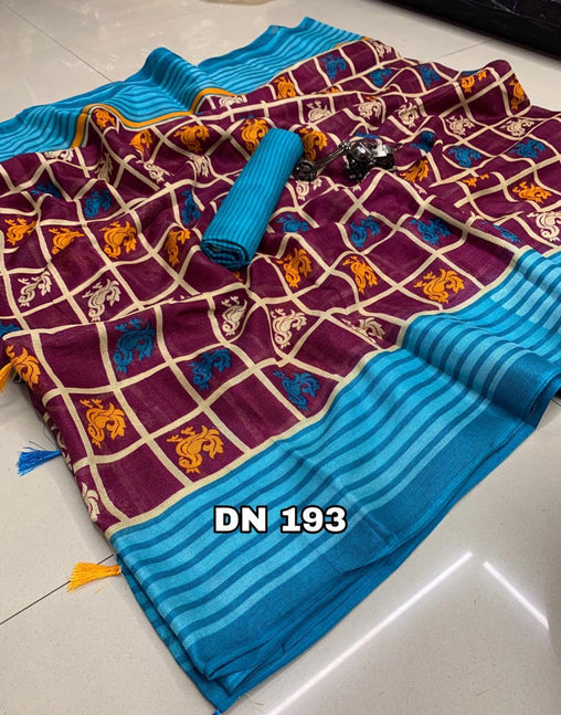 Linen Designer Digital Print Saree 50594