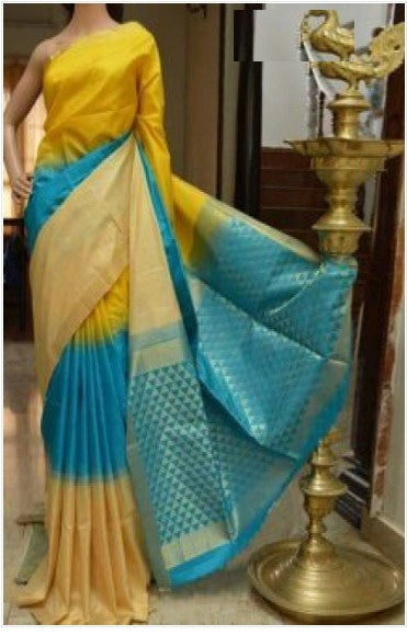 Sari Bhandar Yellow colour Pure Soft Silk Designer Saree MF704
