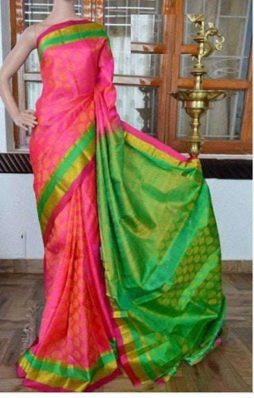 Sari Bhandar Pink Parrot Colour Pure Soft Silk Designer Saree MF811