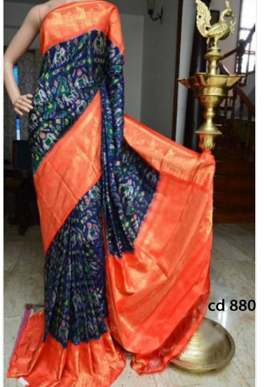 Sari Bhandar Blue Orange  Colour Pure Soft Silk Designer Saree MF880