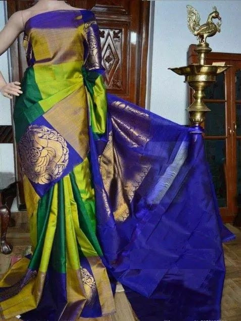 Sari Bhandar Parrot Blue Colour with heavy border Pure Soft Silk Designer Saree MF930