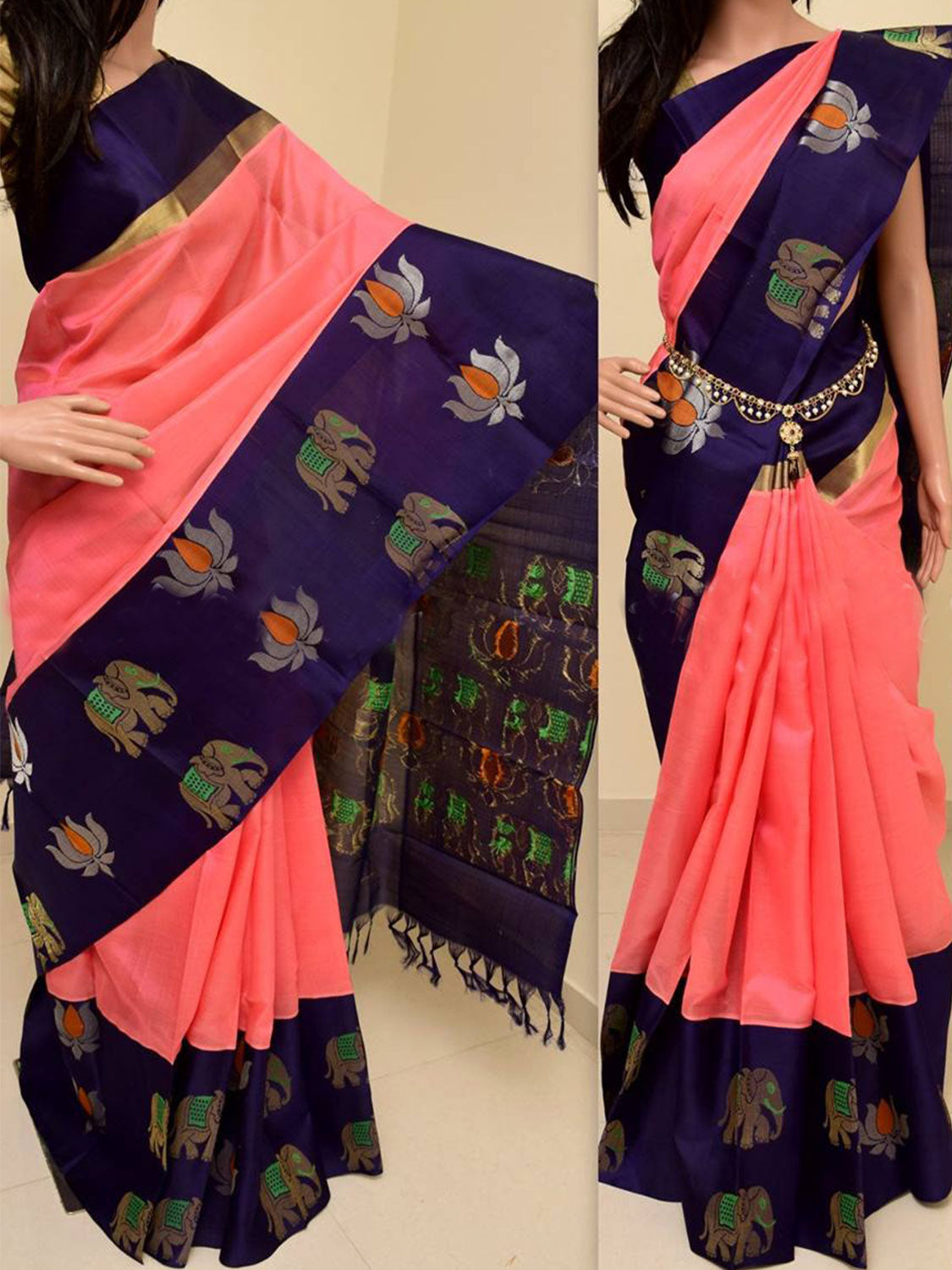 Blue Mix Colour Soft Silk Designer Saree MF768