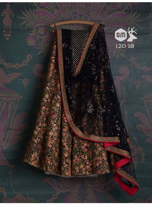 Black colour Designer Embroidered Lehenga Choli LC310