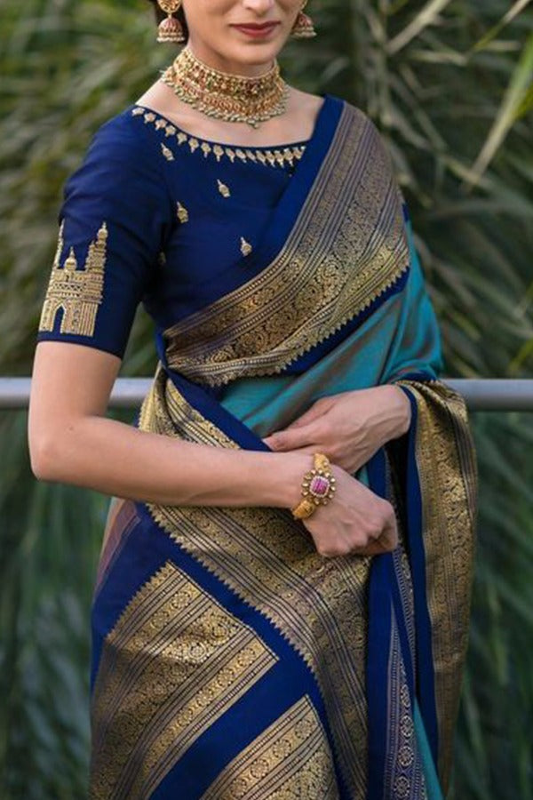 Blue  Colour Soft Silk Designer Saree MF30011