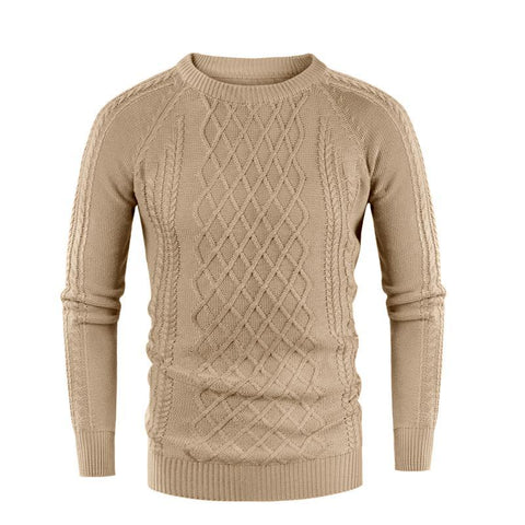 Casual Round Collar Plain Thicken Knit Sweater