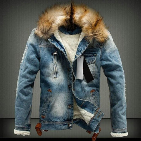 Men Faux Fur Hooded Button Denim Jacket