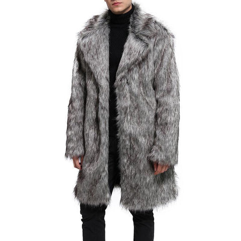 Men's Fashion Faux Fur Suit Collar Long Fur Coat