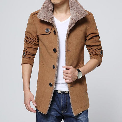 Men's Basic Slim Jacket - Solid Colored Shirt Collar