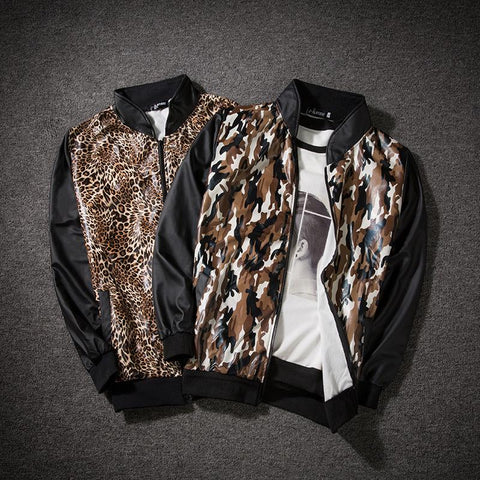 Men's Leopard Print Stand Collar Contrast Coat